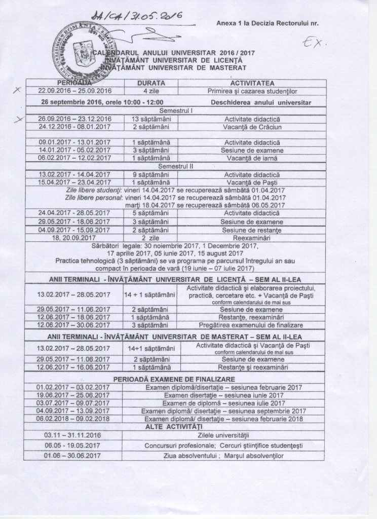 Calendar an universitar 2016-2017  Calendar an universitar TUIASI 2016-2017 Calendar an universitar 2016 2017