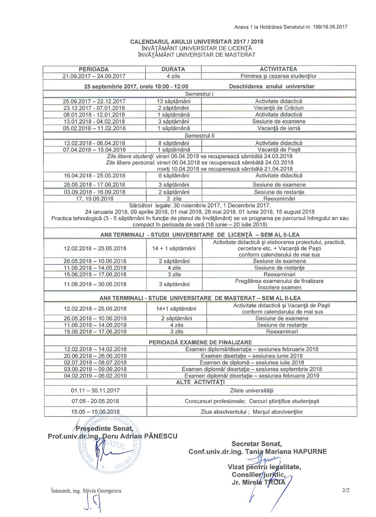 Calendar-an-universitar-2017-2018  Calendar an universitar TUIASI 2017-2018 Calendar an universitar 2017 2018