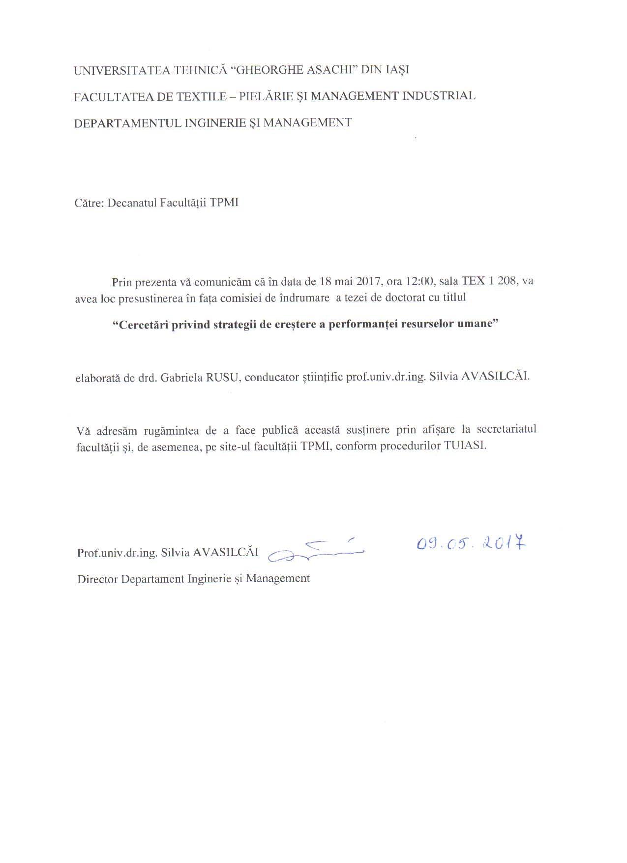 PRESUSTINERE TEZA_RUSU GABRIELA  Anunț presusținere Teză de Doctorat în fața comisiei de îndrumare PRESUSTINERE TEZA RUSU GABRIELA