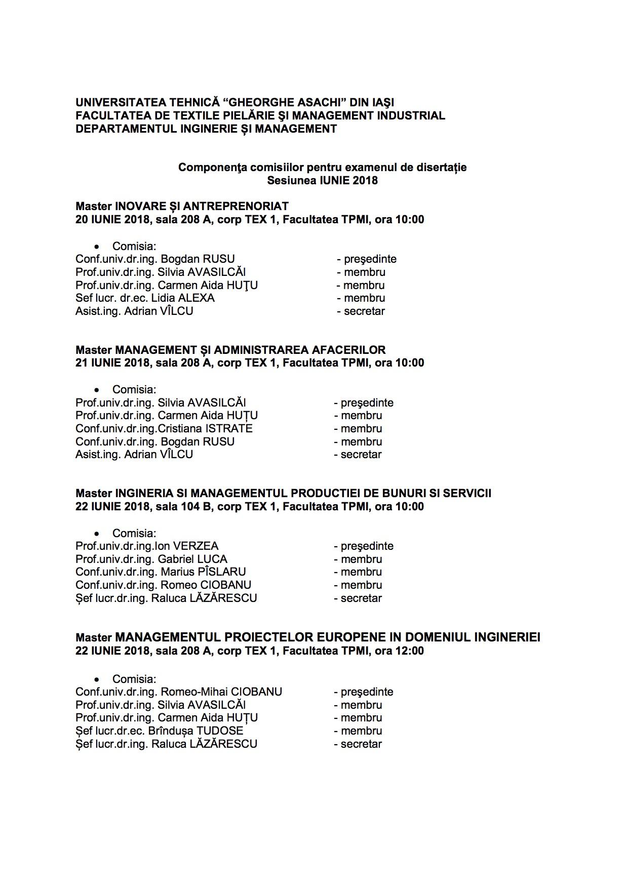 Finalizare studii Comisii examene disertatie Erata iunie